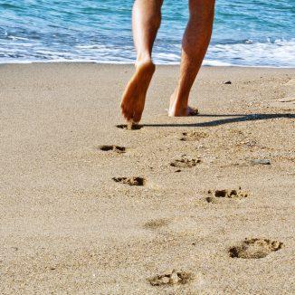 Feet on beach, summer, warm weather