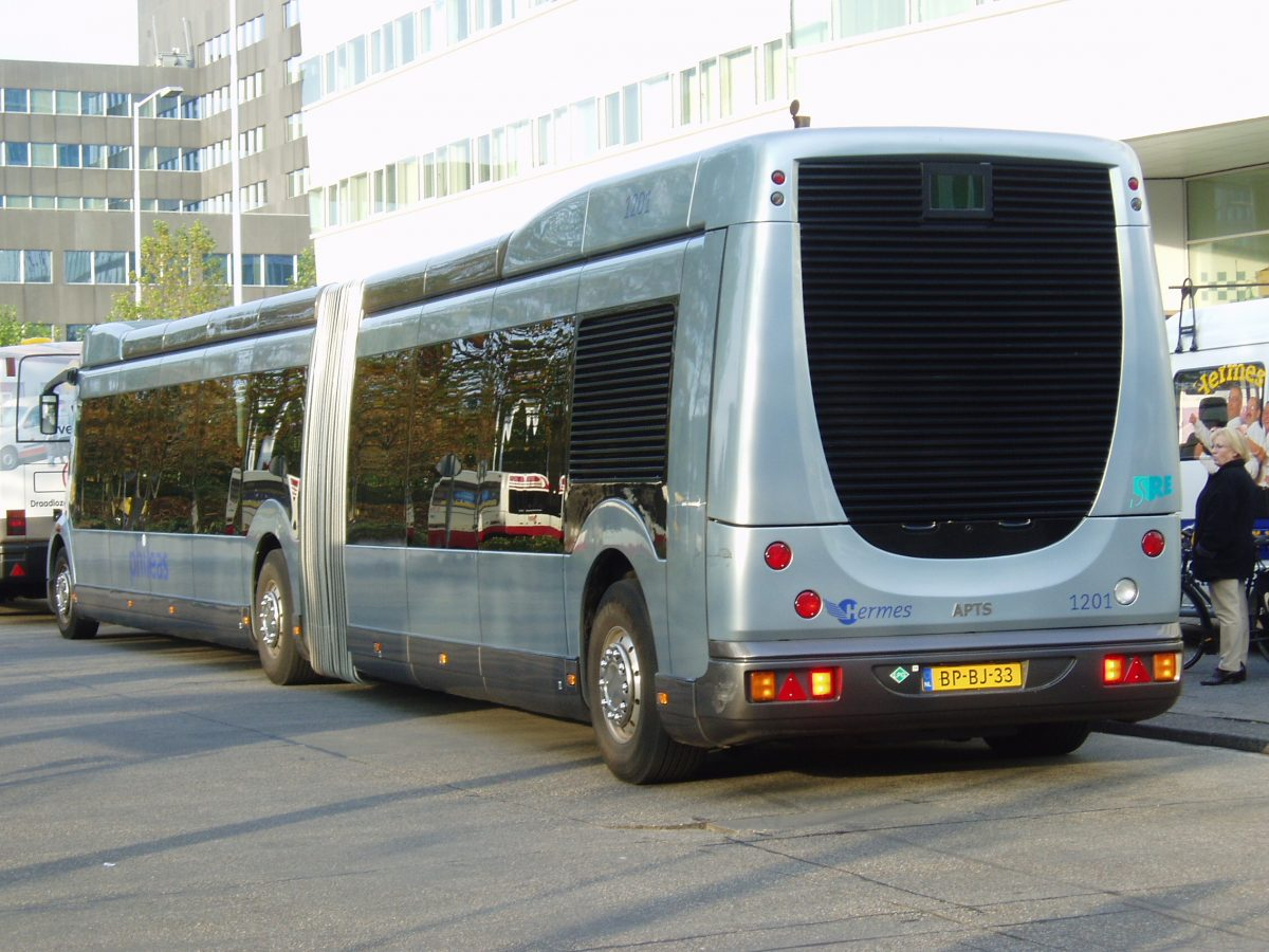 The back end of a hybrid bus in Eindhoven