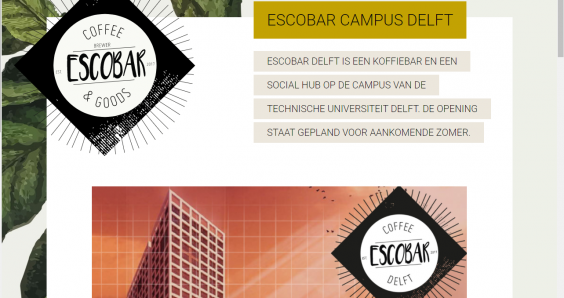 TU Delft international students upset over Escobar café name