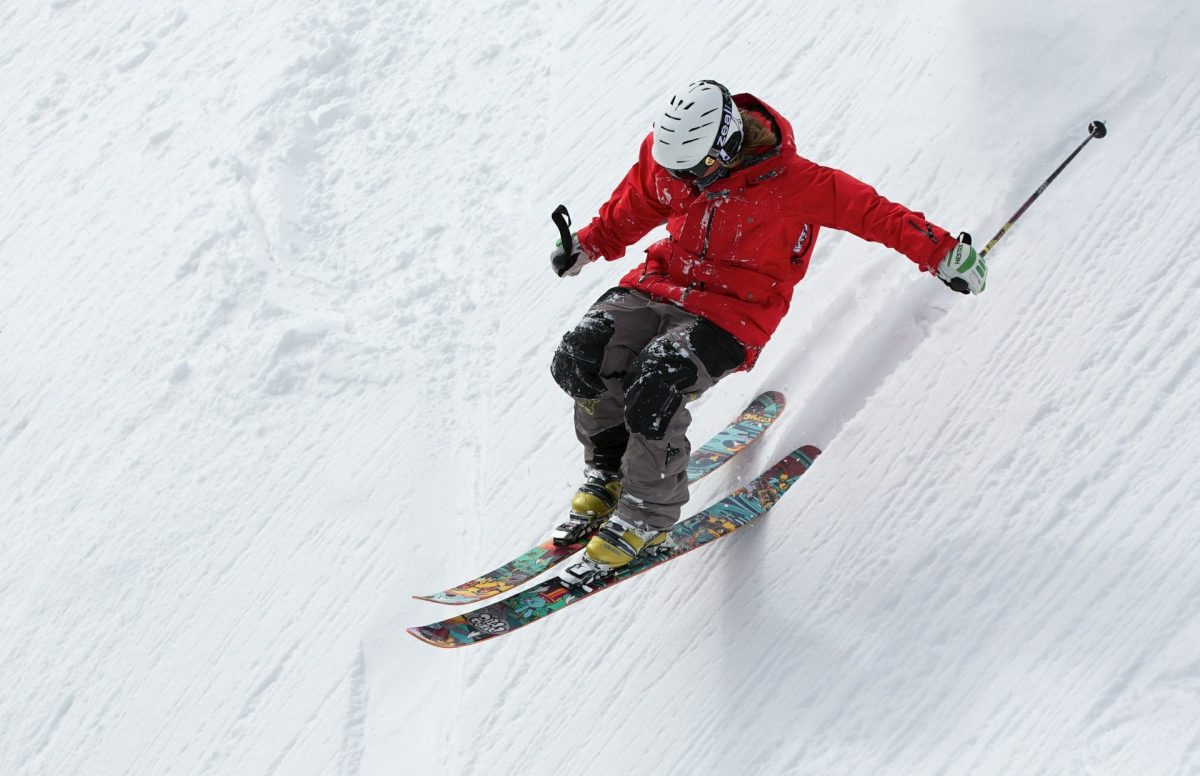 Anonymous person skiing