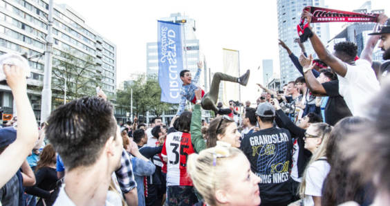 Feyenoord fans celebrating in Rotterdam after the 3-0 Dutch Cup final win against AZ Alkmaar.