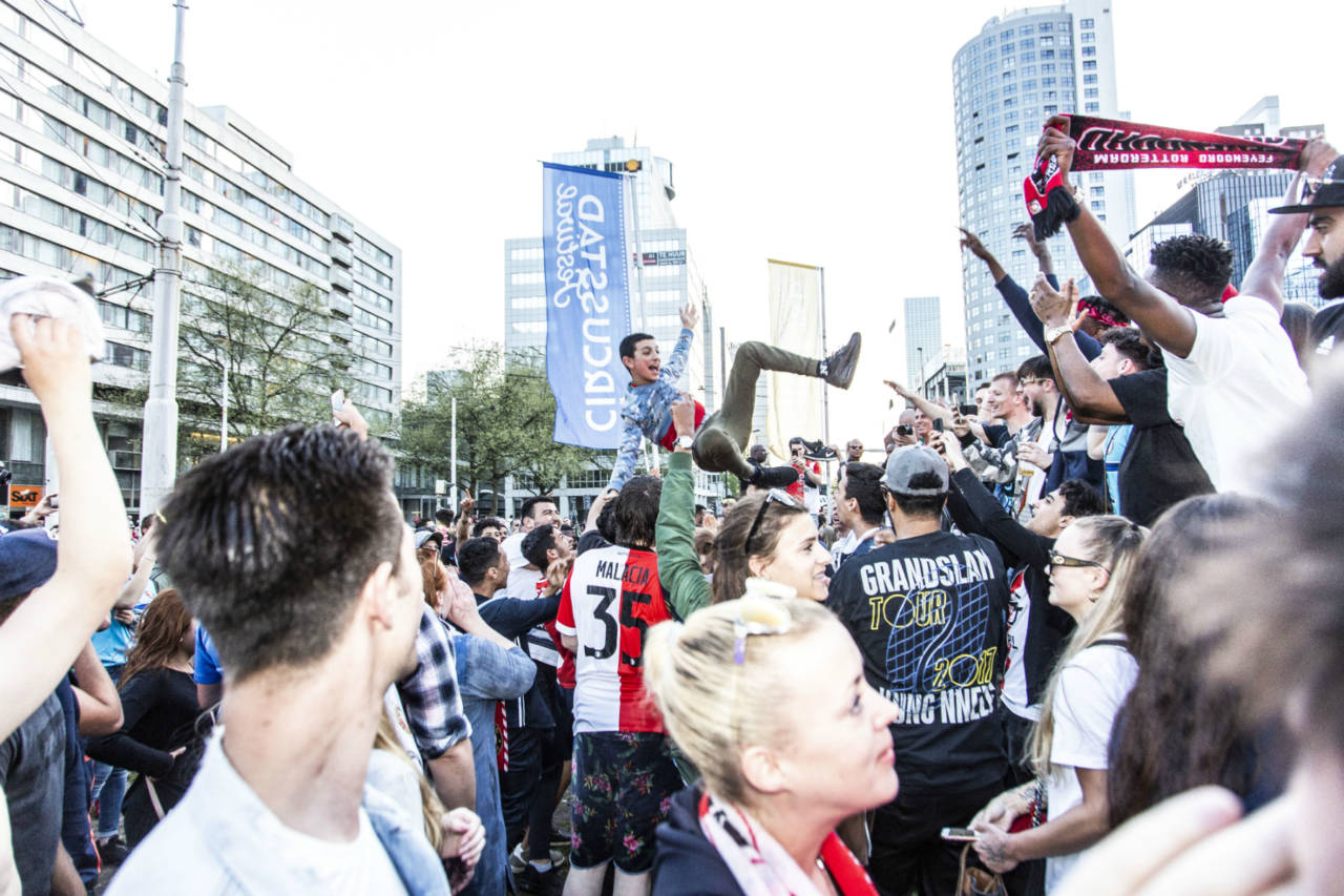 Feyenoord fans celebrating in Rotterdam after the 3-0 Dutch Cup final win against AZ Alkmaar.