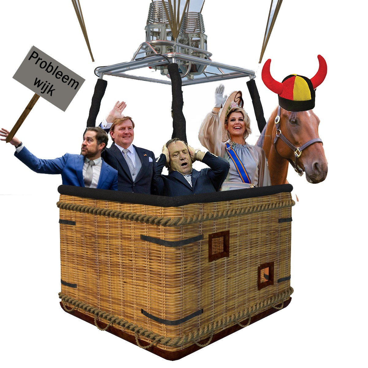 Photo montage showing Klaas Dijkhoff, King Willem-Alexander, Dick Advocaat, Queen Maxima and a horse with a Belgian flag hat in a hot air balloon.