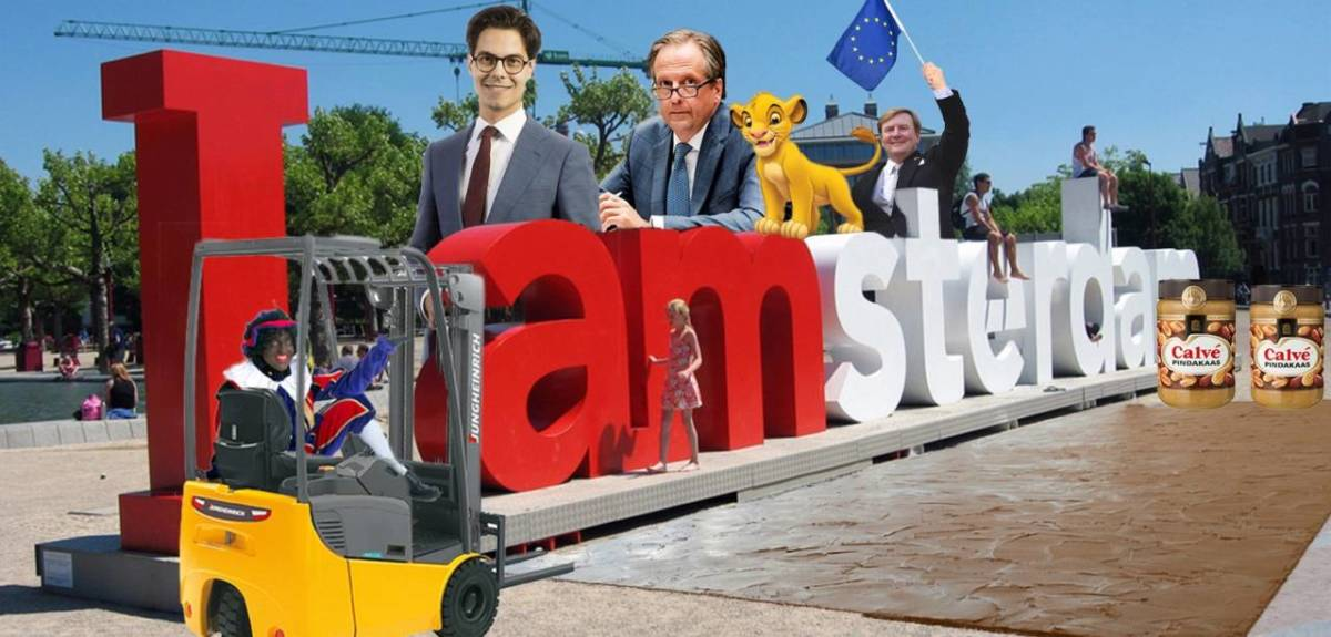 Photomontage featuring D66 leader Rob Jetten, former leader Alexander Pechtold, king Willem-Alexander waving an EU flag and a Disney lion behind the I Amsterdam letters, with a forklift truck driven by a blackfaced Zwarte Piet character and a carpet made of peanut butter in the foreground.