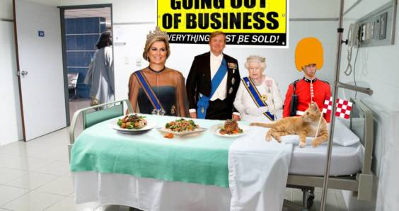 DutchNews podcast photomontage for October 26 2018 featuring King Willem-Alexander and Queen Maxima with Queen Elizabeth II and a beefeater eating a banquet in a bankrupt hospital