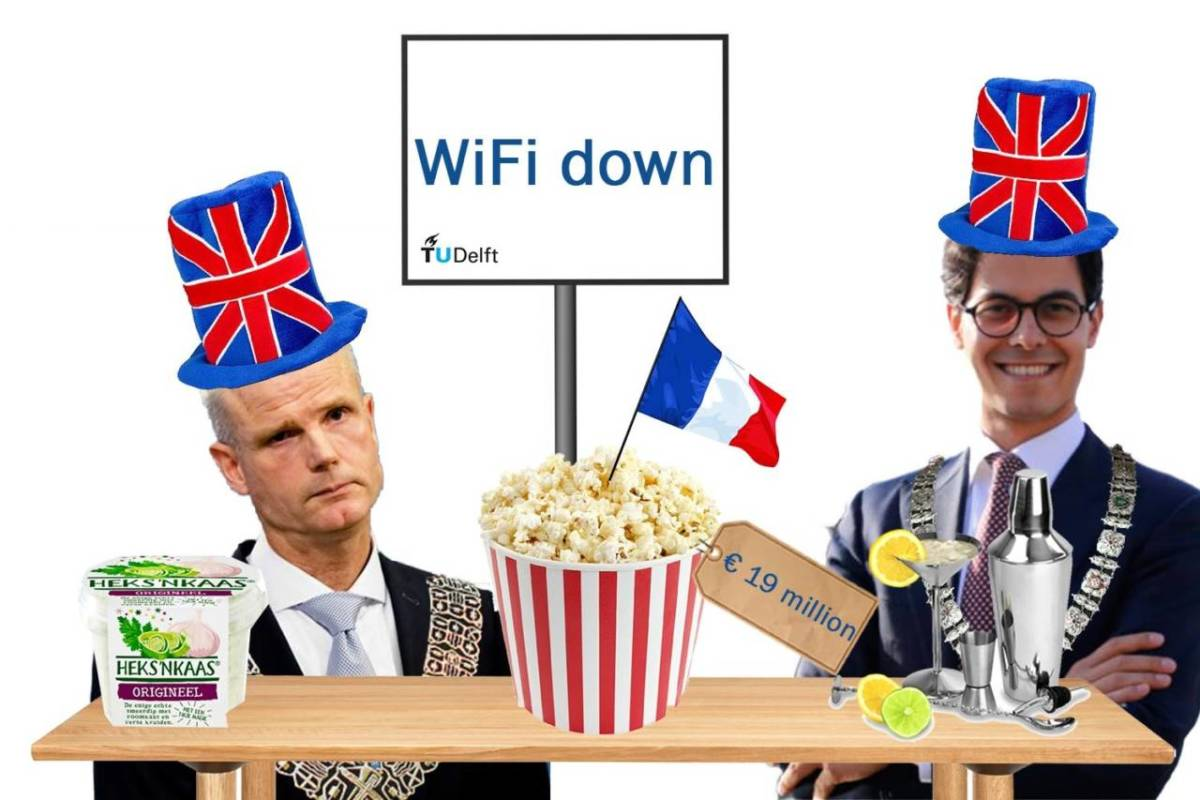 Photomontage from November 16 2018 featuring Stef Blok and Rob Jetten in Union Jack top hats, a bucket of popcorn with a French flag and a WiFi down sign.