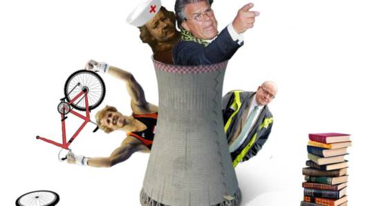 DutchNews podcast photomontage from November 9 2018 with Emile Ratelband in a cooling tower, Epke Zonderland holding a broken bicycle, Rembrandt wearing a nurse's hat and a pile of books
