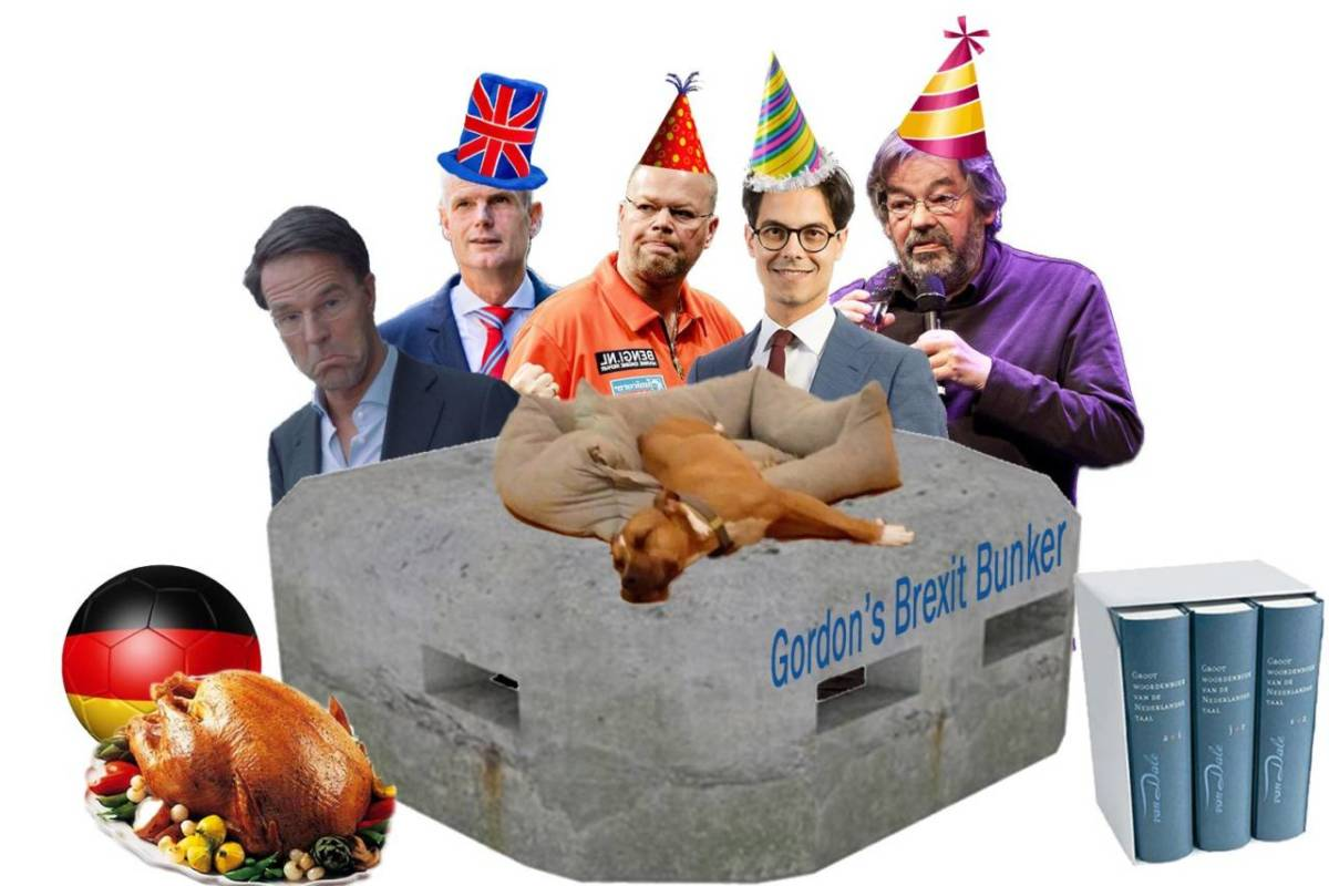 Photoshop montage for November 23, 2018 featuring a glum Mark Rutte, Stef Blok in a Union Jack hat, Raymond van Barneveld, Rob Jetten and Maarten van Rossum in party hats, a concrete bunker labelled Gordon's Brexit Bunker with Trouby the dog sleeping on top, a roast turkey, a German football and a Van Dale dictionary set.