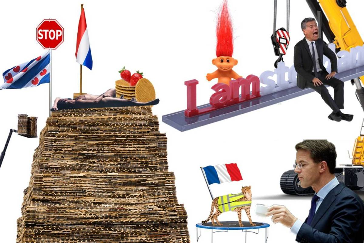 Photomontage with a naked Thierry Baudet on top of a stack of pallets next to a strawberry stroopwafel, Emile Ratelband, a Frisian flag, Mark Rutte and a cheetah in a yellow vest on a trampoline.