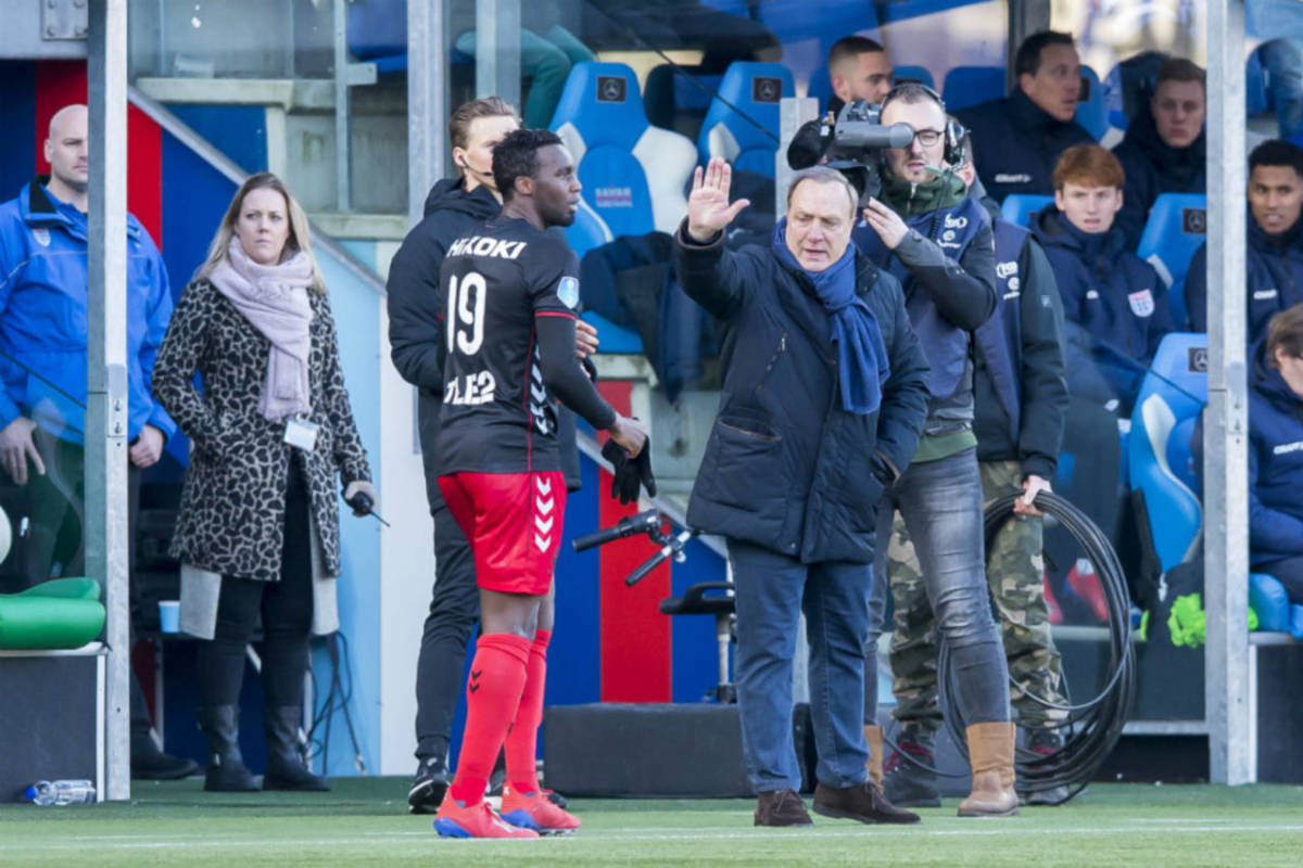 Dick Advocaat, manager of FC Utrecht, gets agitated during his team's 4-3 defeat by PEC Zwolle in the Eredivisie on February 3 2019