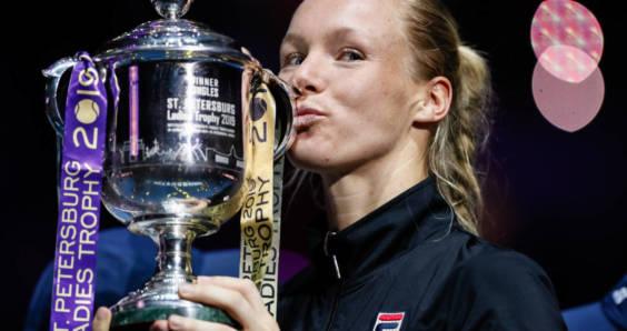 Dutch tennis player Kiki Bertens with her trophy