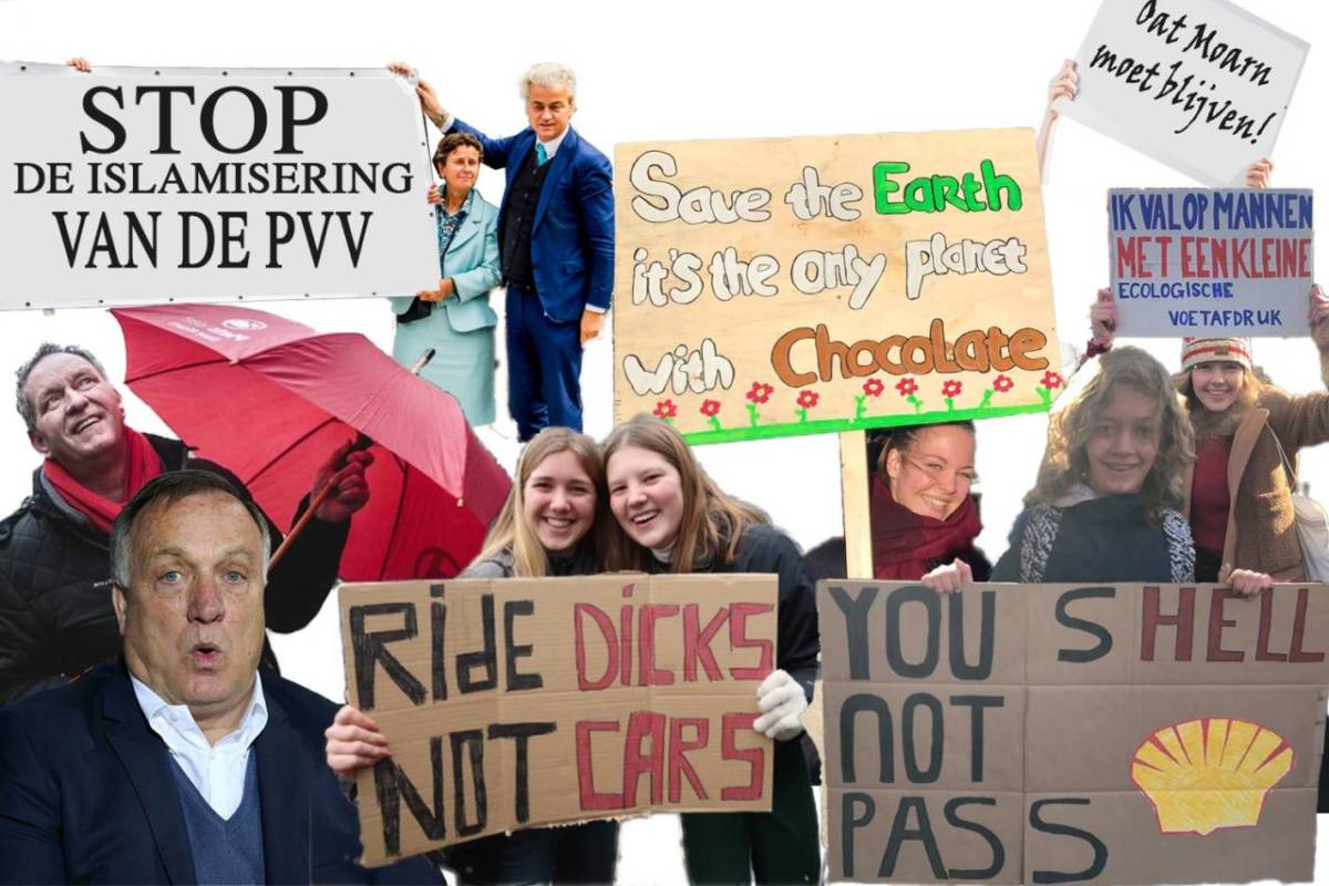 Photoshop montage featuring Dick Advocaat, Geert Wilders and various schoolchildren holding up protest banners.