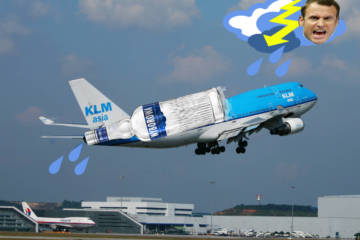 DutchNews photoshop with KLM plane loaded with vodka flying into storm represented by an angry French president Macron