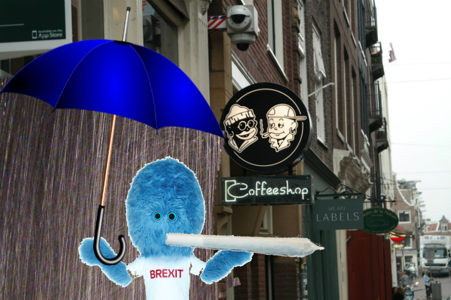 Photomontage featuring Brexitmuppet standing outside a coffeeshop holding an umbrella and getting soaked.