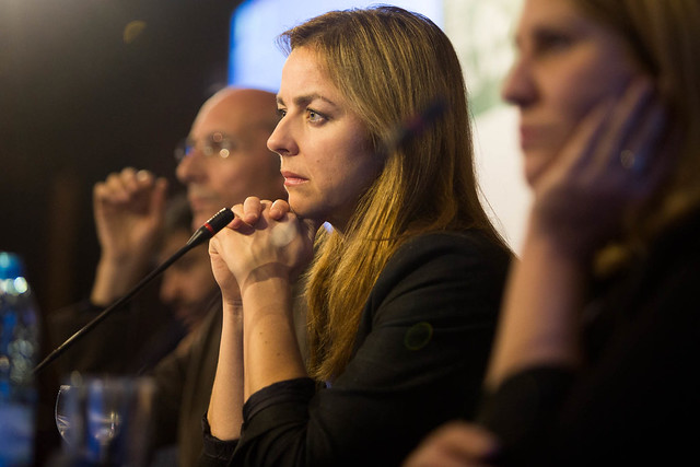 Marianne Thieme at a meeting of animal rights parties in Portugal.