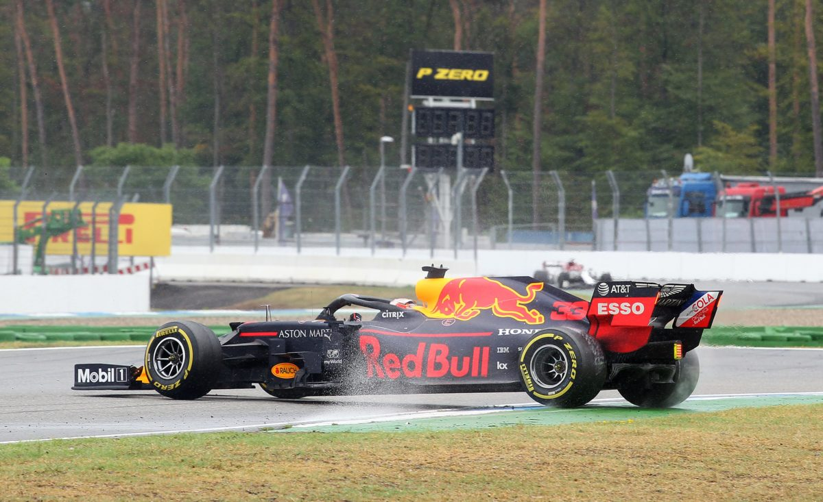 Max Verstappen in his Red Bull car during the Hockenheim Grand Prix of 2019, which he won