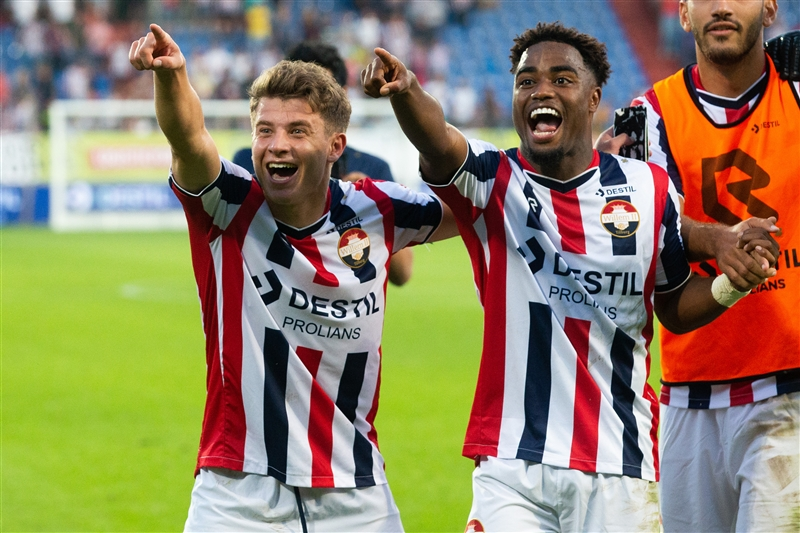 German striker Mats Kohlert celebrates after scoring two goals for Willem II against Emmen