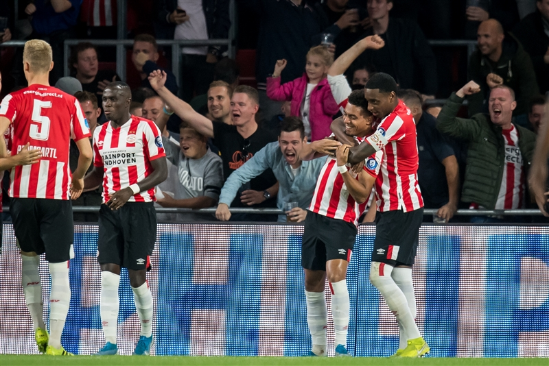 PSV Eindhoven striker Donyell Malen scored five goals in the Eredivisie match against Vitesse Arnhem on September 14 2019.