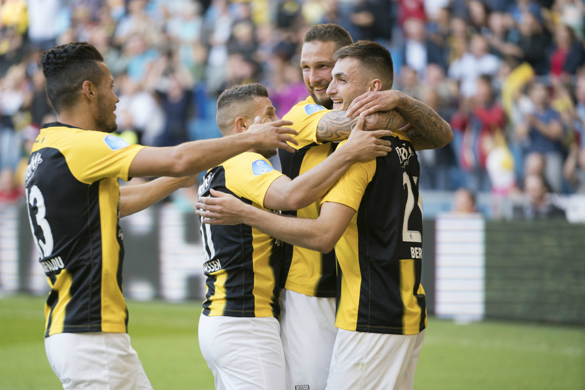 Matus Beto celebrates his winning penalty for Vitesse with Oussama Darfalou and Bryan Linssen