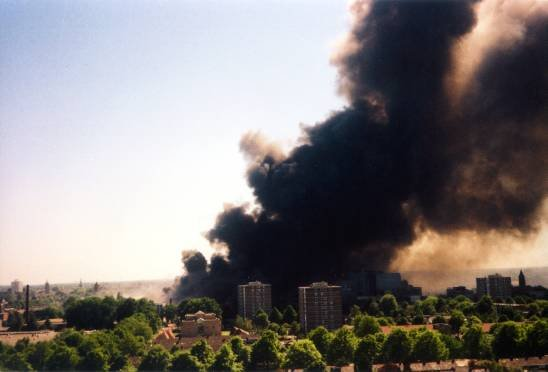 A plume of smoke over Enschede during the fireworks disaster on May 13, 2000.