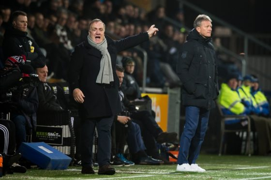 Dick Advocaat shouts from the touchline during Feyenoord's 3-2 win at Heracles