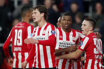 PSV Eindhoven players during the match against Willem II