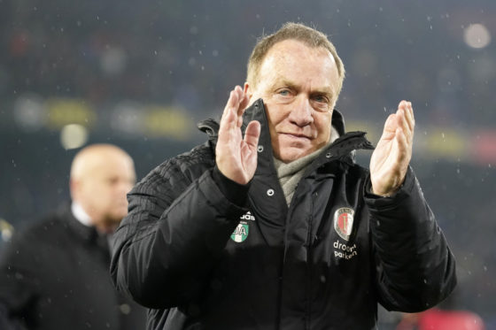 Dick Advocaat clapping in the rain after Feyenoord reached the 2020 KNVB Beker final