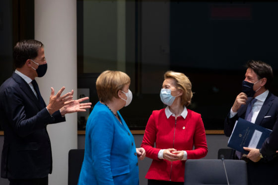 Mark Rutte holding his hands outstretched, with Angela Merkel, Ursula von der Leyden and Giuseppe Conte looking on at the EU budget summit in Brussels.