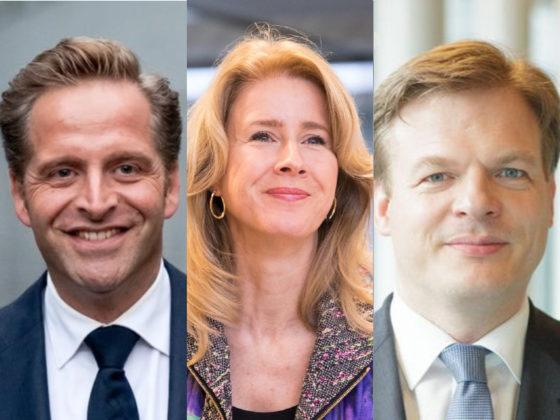 Portraits of CDA leadership contenders Hugo de Jonge, Mona Keijzer and Pieter Omtzigt.