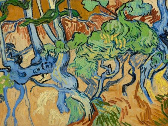 Detail from Vincent van Gogh's Tree Roots, a composition in bright colours of a coppice bank.