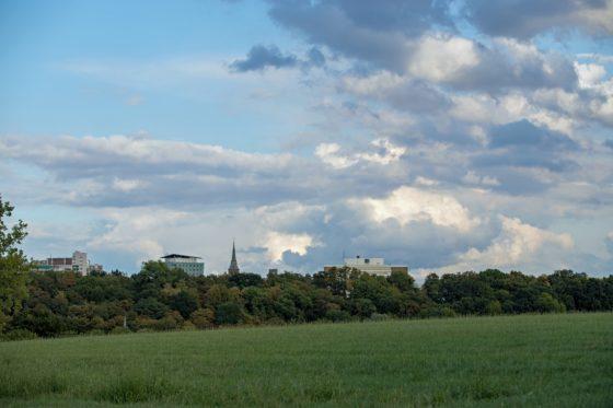 A panorama of Kerkrade's skyline on a cloudy day