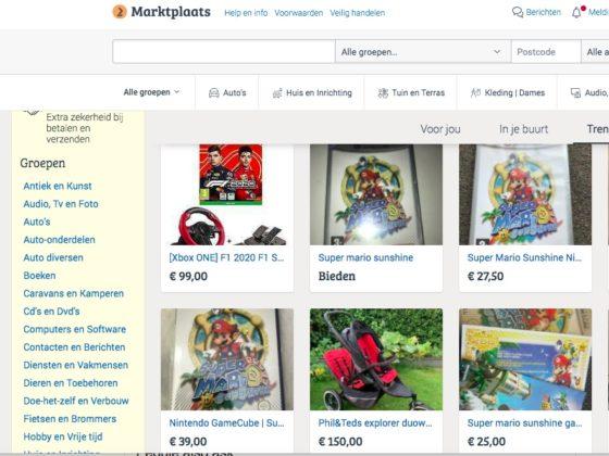 screengrab of Marktplaats home page
