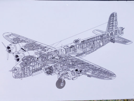 A diagram of the Short Stirling displayed at the recovery site.