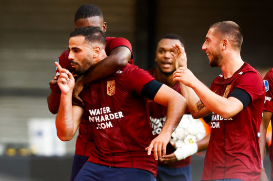 Team-mates celebrating with Oussama Tannane after his goal for Vitesse Arnhem against Sparta.