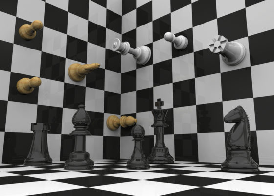 Pieces on a three dimensional chessboard