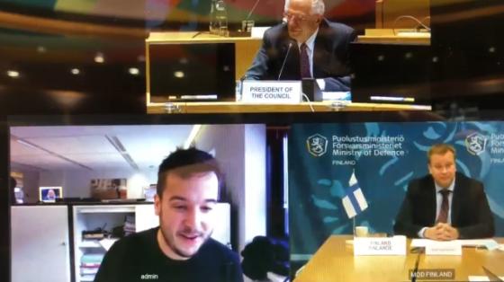 Dutch journalist gatecrashes European Union defence video conference