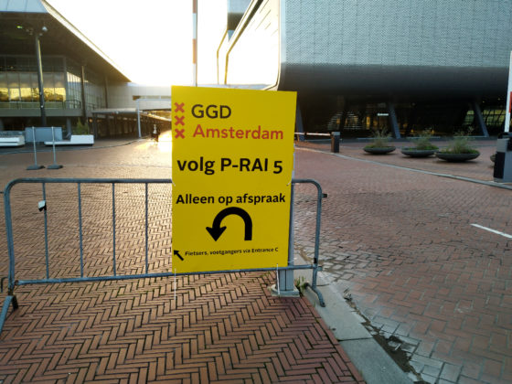 sign outside the GGD test location at the RAI in Amsterdam