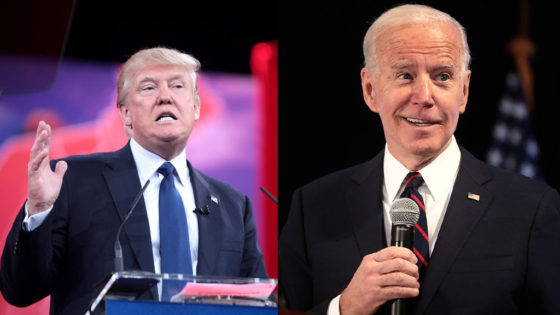 Montage of Donald Trump (left) and Joe Biden (right) speaking to audiences.
