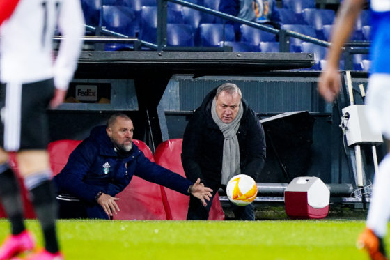 Dick Advocaat watching a goalkeeper make a save during the Europa League match against Dinamo Zagreb from the Feyenoord dugout